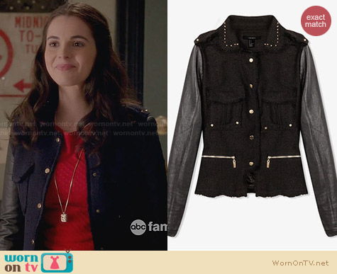 Forever 21 Spiked Collar Tweed Jacket worn by Vanessa Marano on Switched at Birth