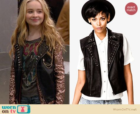 Forever 21 Spiked Faux Leather Moto Vest worn by Sabrina Carpenter on Girl Meets World