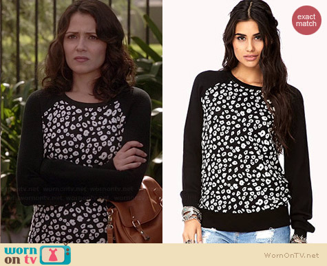 Forever 21 Spot On Leopard Sweater worn by Italia Ricci on Chasing Life