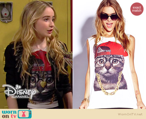 Forever 21 Street Style Kitty Tee worn by Sabrina Carpenter on Girl Meets World