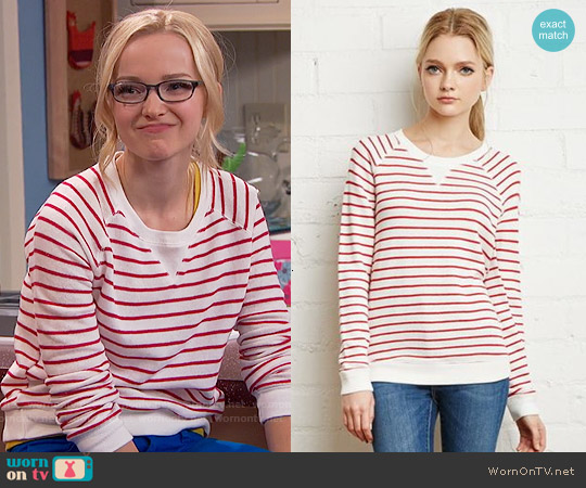 Forever 21 Striped French Terry Sweater worn by Dove Cameron on Liv & Maddie