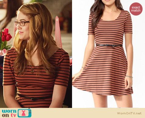 Forever 21 Striped Skater Dress worn by McKaley Miller on Hart of Dixie
