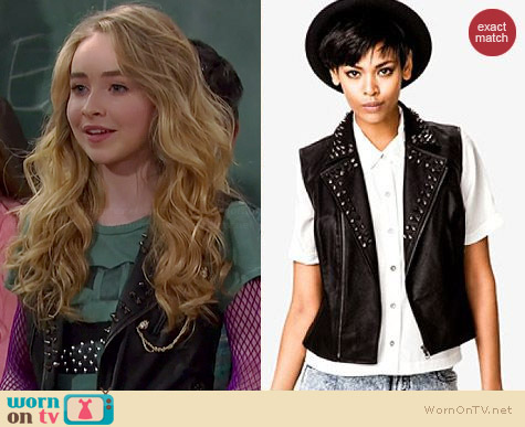 Forever 21 Studded Faux Leather Vest worn by Sabrina Carpenter on Girl Meets World
