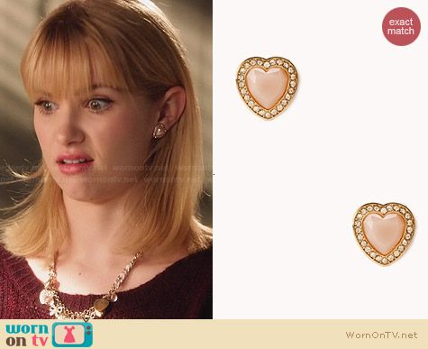 Forever 21 Sweetheart Glam Stud Earrings worn by Claudia Lee on Hart of Dixie