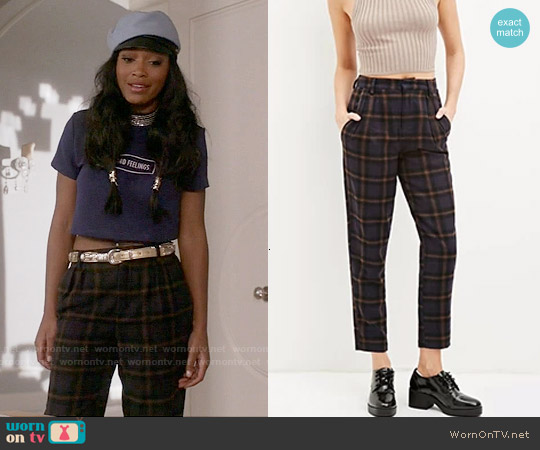 Forever 21 Tartan Plaid Trousers worn by Zayday Williams on Scream Queens