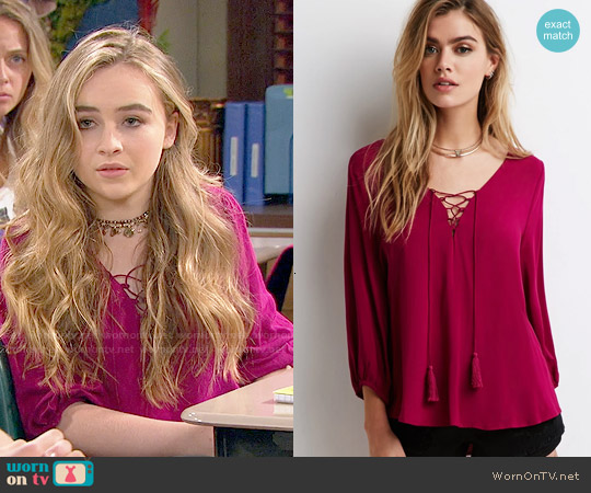 Forever 21 Tasseled Self-Tie Peasant Top worn by Sabrina Carpenter on Girl Meets World