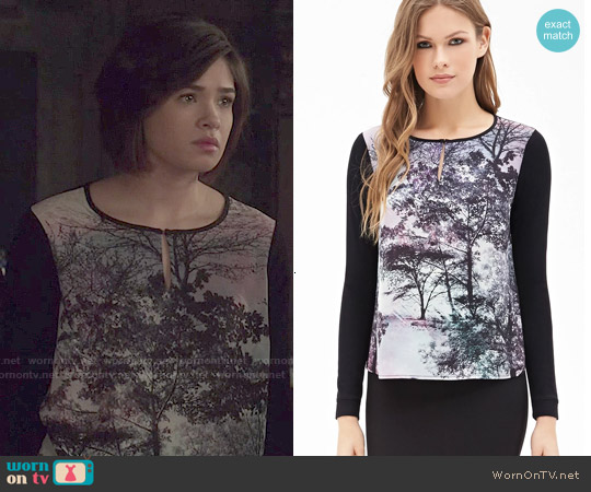 Forever 21 Tree Print Colorblocked Top worn by Nicole Gale Anderson on Beauty & the Beast