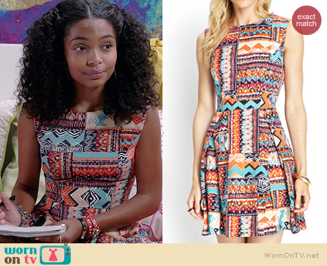 Forever 21 Tribal Print Woven Dress worn by Yara Shahidi on Black-ish