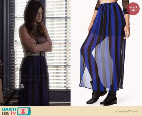 Forever 21 Vented Striped Maxi Skirt worn by Lucy Hale on PLL