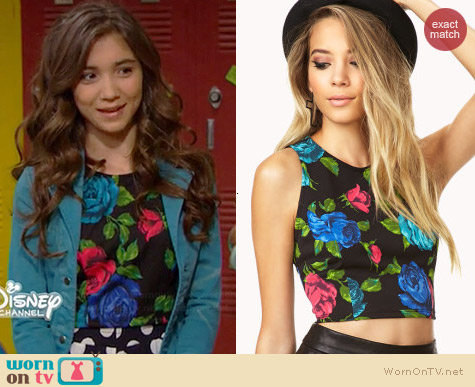 Forever 21 Vibrant Floral Crop Top worn by Rowan Blanchard on Girl Meets World