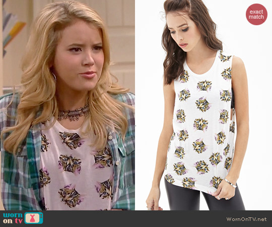 Forever 21 Cat Print Muscle Tank worn by Taylor Spreitler on Melissa & Joey