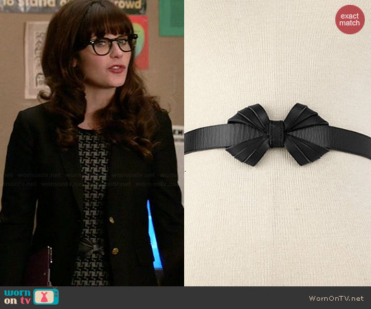 Fossil Leather Bow Belt worn by Zooey Deschanel on New Girl