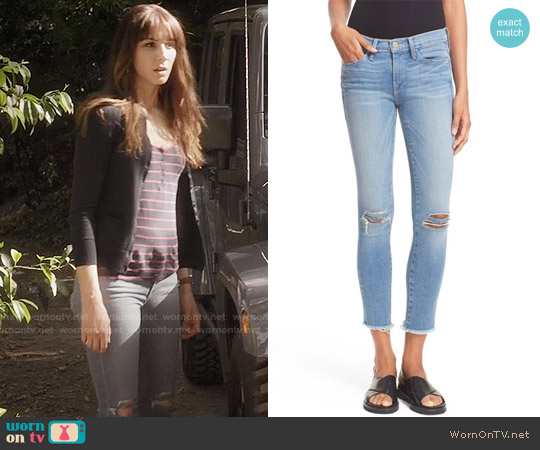 Frame 'Le Skinny de Jeanne' Crop Raw Edge Jeans in Waterwood worn by Spencer Hastings on PLL