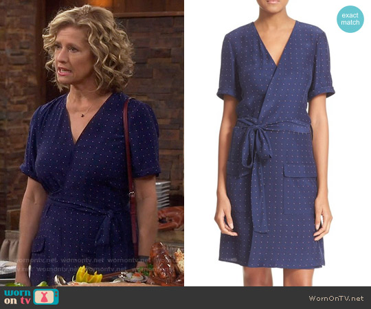 Frame 'Le Wrap Tie' Silk Wrap Dress in Navy Dot worn by Nancy Travis on Last Man Standing