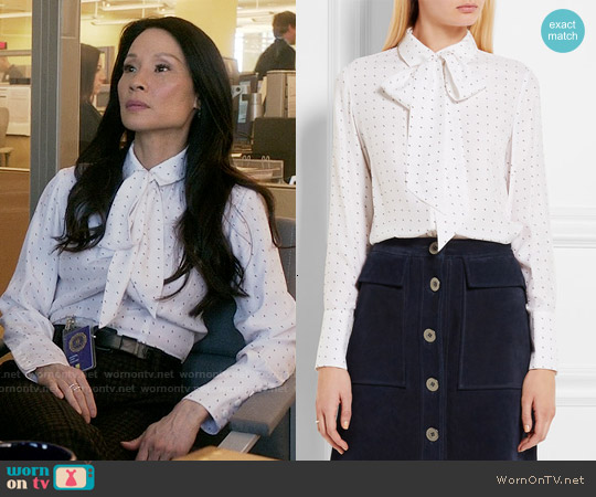 Frame Denim Le Scarf Shirt worn by Lucy Liu on Elementary