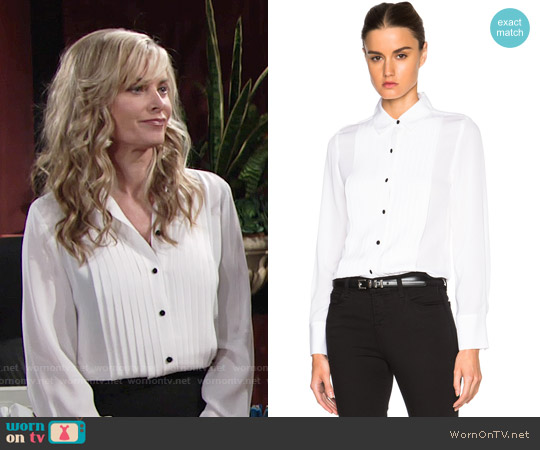 Frame Denim Tuxedo Top worn by Eileen Davidson on The Young & the Restless