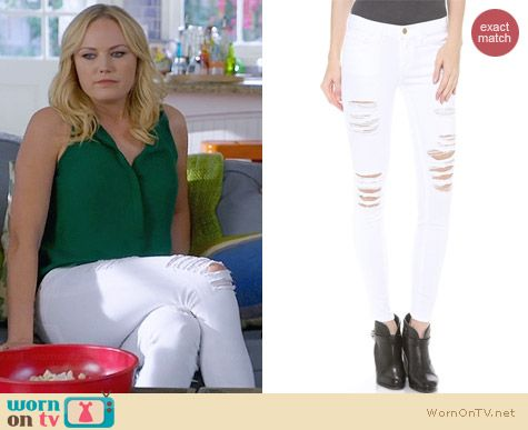 Frame Le Color Rip Skinny Jeans in Blanc worn by Malin Akerman on Trophy Wife