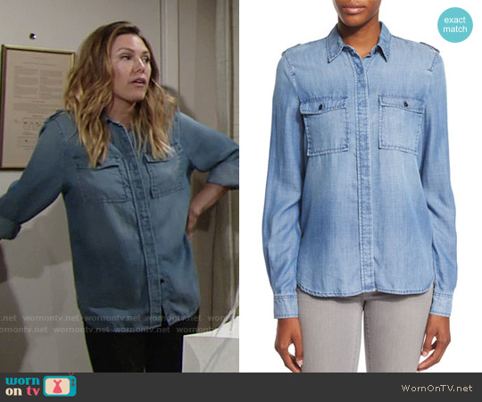 Frame Le Military Shirt in Lake worn by Elizabeth Hendrickson on The Young & the Restless