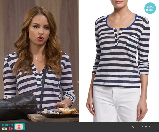 Frame Nautical Striped Linen Henley Top worn by Aimee Carrero on Young & Hungry