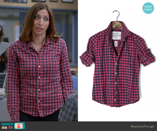 Frank & Eileen Barry Shirt in Navy and Pink worn by Chelsea Peretti on Brooklyn Nine-Nine