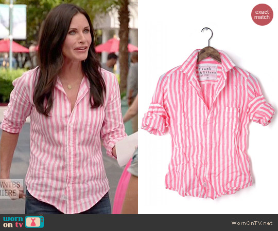 Frank & Eileen Barry Shirt in Pink & White Stripe Linen worn by Courtney Cox on Cougar Town