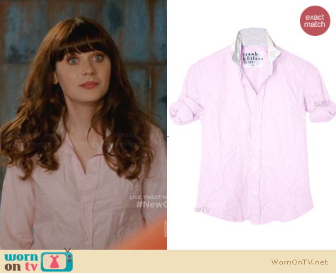 Frank & Elieen Barry Shirt in Pink worn by Zooey Deschanel on New Girl