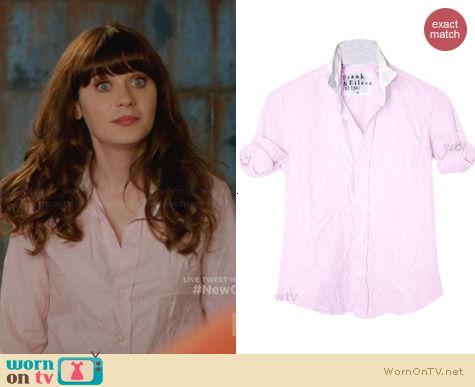 Frank & Elieen Barry Shirt in Pink worn by Zooey Deschanel on New Girl