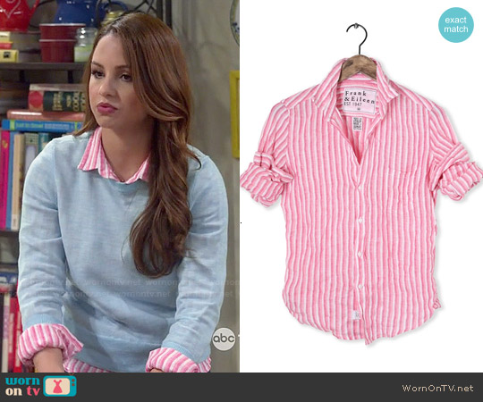 Frank & Eileen Barry Striped Linen Shirt worn by Aimee Carrero on Young & Hungry