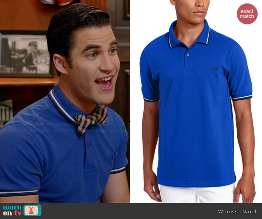 Fred Perry Double Tipped Polo in Regal worn by Darren Criss on Glee