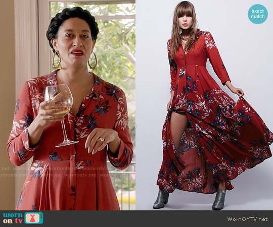Free People After the Storm Maxi Dress worn by Tracee Ellis Ross on Blackish