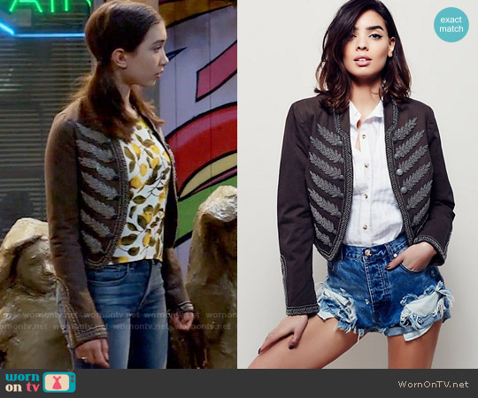 Free People Embellished Band Jacket worn by Riley Matthews on Girl Meets World
