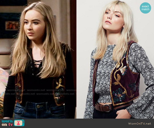 Free People Shrunken Sequin Vest worn by Sabrina Carpenter on Girl Meets World