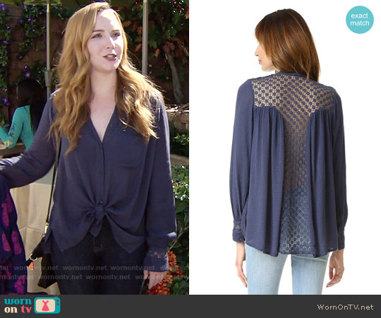 Free People The Best Button Down in Navy worn by Camryn Grimes on The Young & the Restless