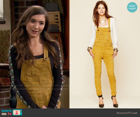 Free People Through The Woods Corduroy Overall worn by Rowan Blanchard on Girl Meets World