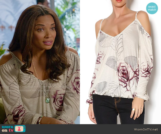 Free People Adelia Floral Blouse worn by Rochelle Aytes on Mistresses
