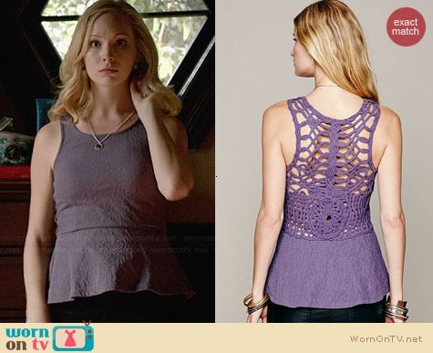 Free People Affairs in Versailles Peplum Top in Purple worn by Candice Accola on The Vampire Diaries