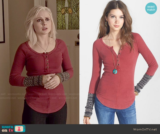 Free People Alpine Cuff Knit Henley worn by Rose McIver on iZombie