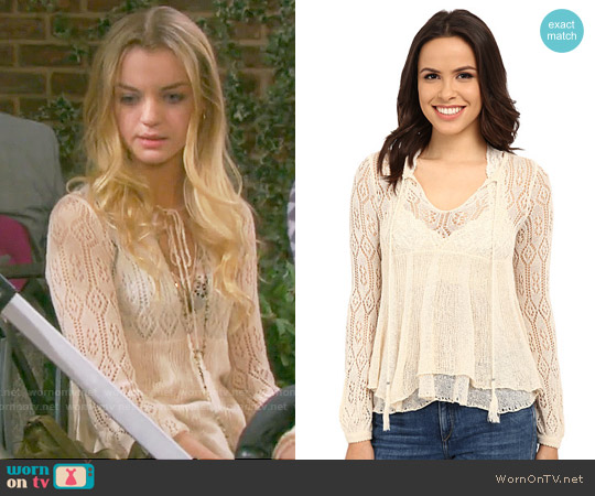 Free People Angel Days Pullover in Antique Combo worn by Olivia Rose Keegan on Days of our Lives