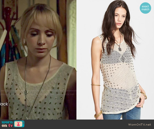 Free People 'Anjani' Embellished Mesh & Linen Tank worn by Ksenia Solo on Orphan Black