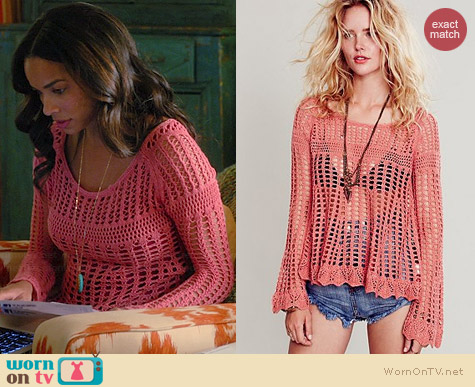 Free People Annabelle Crochet Pullover worn by Rochelle Aytes on Mistresses