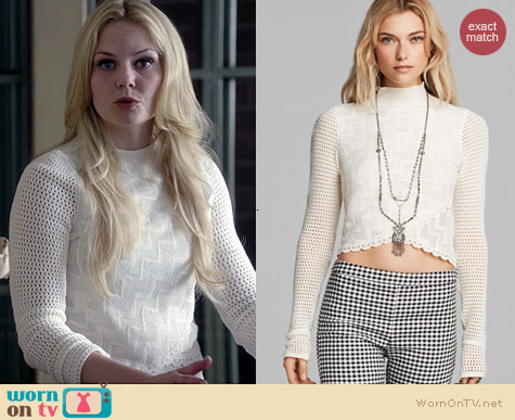 Free People Antoinette Top in Oatmeal worn by Jennifer Morrison on OUAT