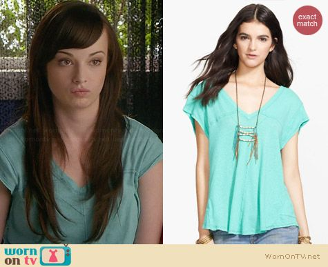 Free People At The Seams Tee in Aqua worn by Ashley Rickards on Awkward