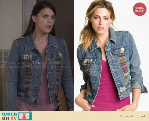 Free People Baja Denim Jacket worn by Lindsey Shaw on PLL