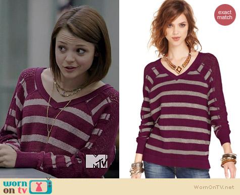 Free People Striped Pointelle Dolman Sweater in Berry worn by Kathryn Prescott on Finding Carter
