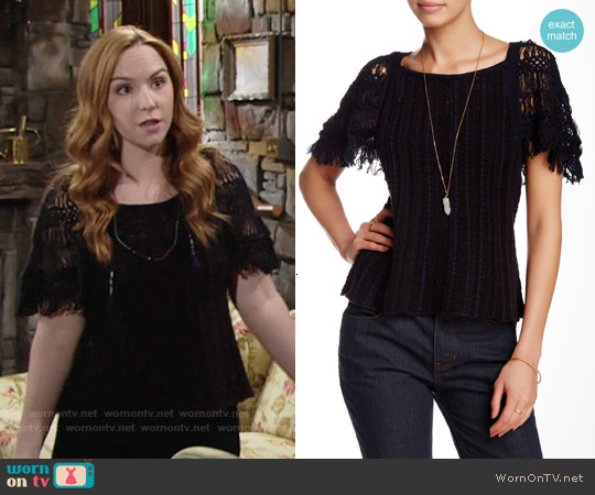 Free People Blackbird Blouse worn by Camryn Grimes on The Young & the Restless