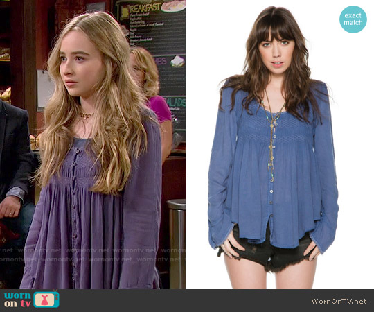 Free People Blue Bird Smocked Top worn by Sabrina Carpenter on Girl Meets World