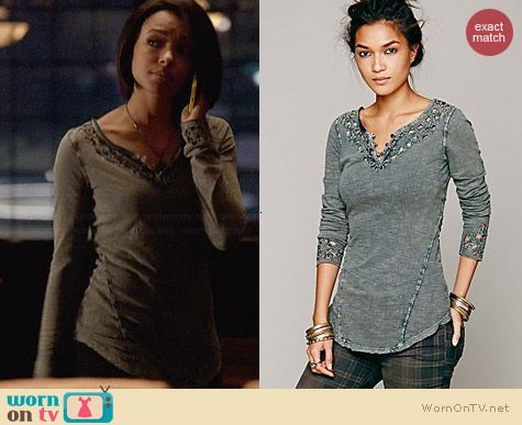 Free People Blue Luna Top in Dark Turquoise worn by Kat Graham on The Vampire Diaries