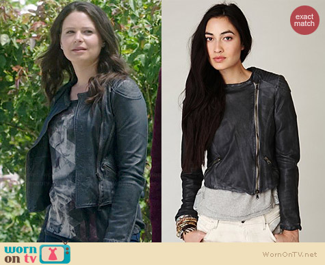 Free People Blur Leather Jacket worn by Katie Lowes on Scandal