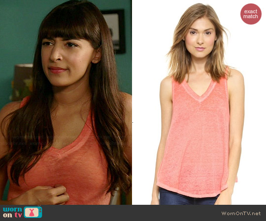 Free People Breezy Tank in Sunrise Red worn by Hannah Simone on New Girl