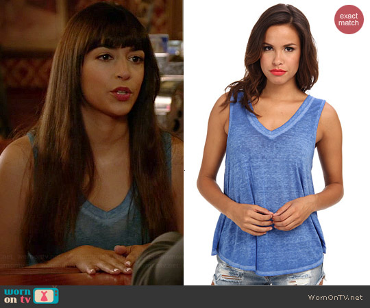 Free People Breezy Tank in True Blue worn by Hannah Simone on New Girl
